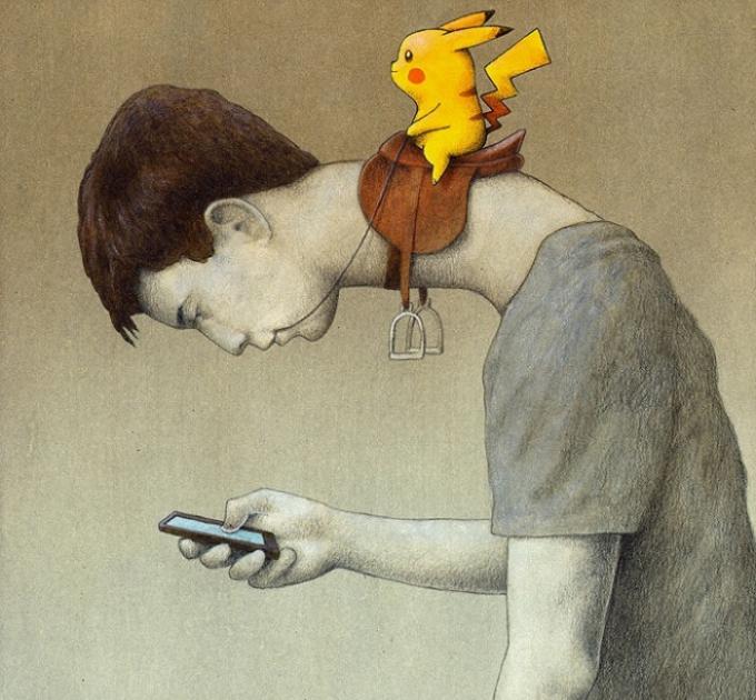 """<p class=""""Normal""""> Chứng kiến việc nhiều người cuồng Pokemon Go, họa sĩ người Ba Lan Pawel Kuczynsk đã cho ra bức tranh biếm họa mang tên """"Control"""" (Điều khiển).</p>"""