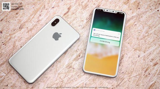 <p> iPhone 8 phiên bản trắng bạc có màn hình không viền càng khiến thiết bị nổi bật, dù cụm camera trước và cảm biến tạo ra những chấm đen có phần lạc điệu.</p>