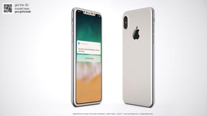 <p> iPhone 8 chạy iOS 11 và tích hợp cảm biến vân tay lên màn hình, không còn nút Home truyền thống. Trong concept này, viền màn hình của máy vẫn để lộ ra phần khung đen, giống các mẫu iPhone có mặt trắng hiện nay.</p>