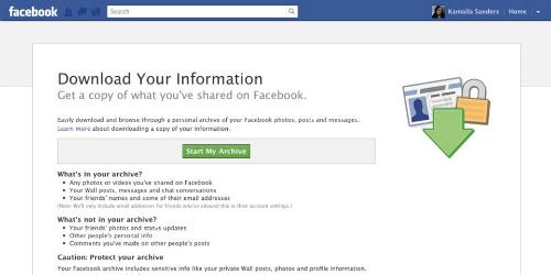 Người dùng nên tải các thông tin về trước khi xóa tài khoản Facebook.