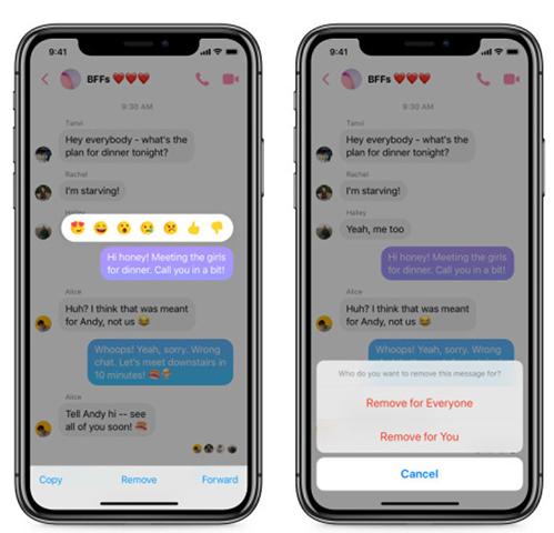 Tính năng xóa tin nhắn đã gửi trên Facebook Messenger.