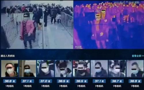 Màn hình theo dõi thân nhiệt hành khách tại nhà ga ở Bắc Kinh.
