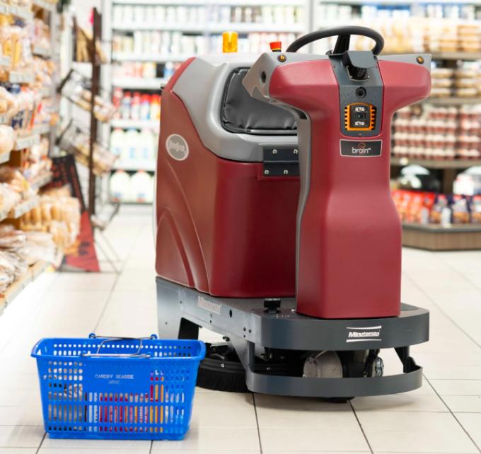 Robot lau sàn tự động tại siêu thị Giant Eagle. Ảnh: NYT.