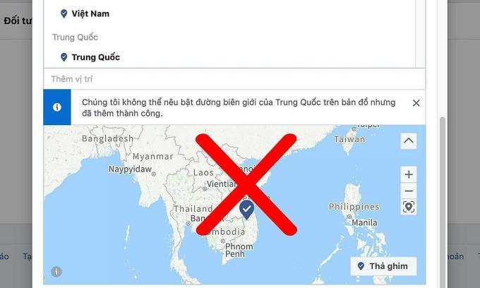 Bản cập nhật của Facebook thêm dòng mô tả về việc không nêu nổi bật đường biên giới của quốc gia trên bản đồ, nhưng vẫn không hiện Hoàng Sa, Trường Sa khi chọn Việt Nam.