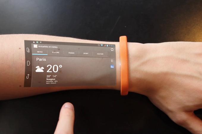 Ý tưởng giao diện cảm ứng chiếu trên cánh tay. Ảnh: 9to5Toys.
