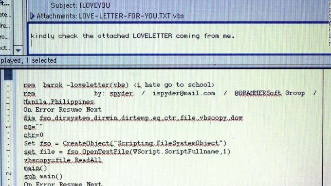 Iloveyou được lập trình vụng về, để lộ nguồn gốc tác giả. Ảnh: CNN.