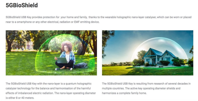 5GbioShield được quảng cáo bảo vệ một người, thậm chí cả ngôi nhà khỏi tác hại của sóng 5G.