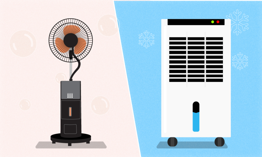 So sánh quạt hơi nước và quạt điều hòa