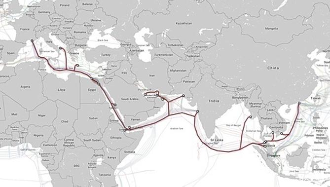 Hướng kết nối của AAE-1 từ Việt Nam đi quốc tế. Ảnh: FPT Telecom.