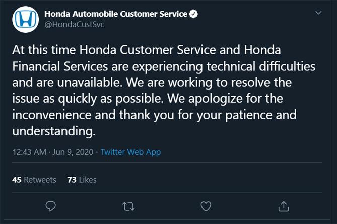 Dịch vụ khách hàng của Honda thông báo đang gặp lỗi ký thuật.
