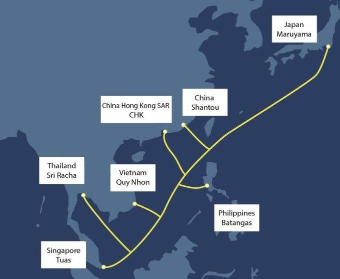Đường đi dự kiến của hệ thống cáp quang biển mới. Ảnh: Singtel