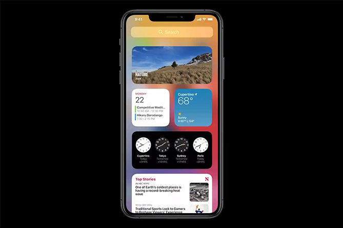 iOS 14 cho phép đưa widget ra ngoài màn hình chính, giúp người dùng tùy biến giao diện nhiều hơn.