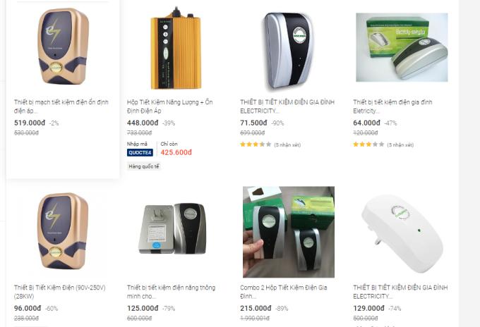 Các thiết bị được quảng cáo tiết kiệm điện, bán nhiều trên các trang thương mại điện tử.