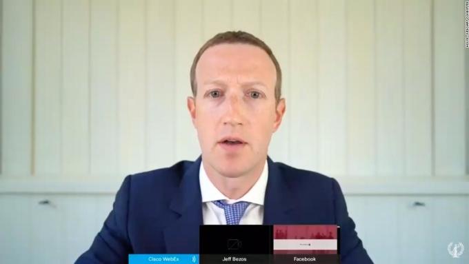 Mark Zuckerberg tham gia điều trần từ xa. Ảnh: CNN.