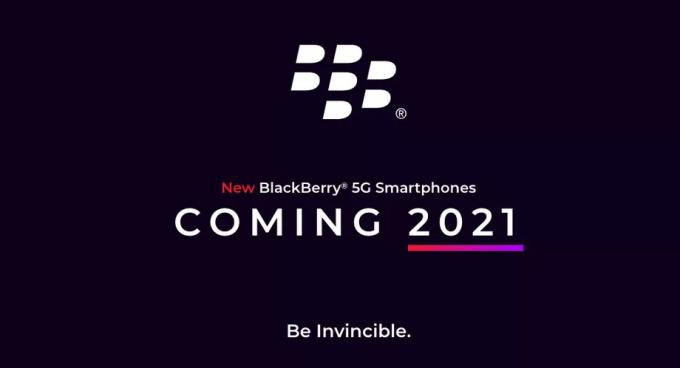 Smartphone BlackBerry mới sẽ có 5G và ra mắt đầu 2021. Ảnh: OnwardMobility.