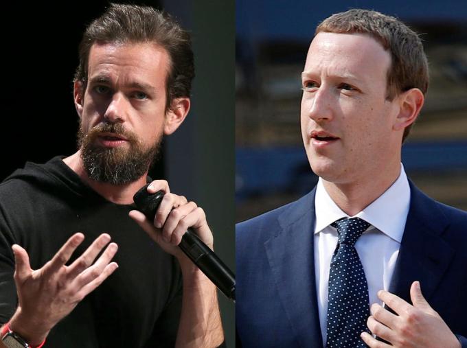 CEO Twitter Jack Dorsey (bên trái) và CEO Facebook Mark Zuckerberg (bên phải). Ảnh: AP.