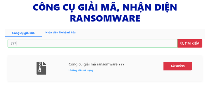 Người dùng có thể nhập thông tin về ransomware và nhận hướng dẫn khắc phục.