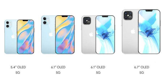 Bốn phiên bản iPhone 2020 với tên gọi iPhone 12 mini, iPhone 12, iPhone 12 Pro và iPhone 12 Pro Max, lần lượt từ trái qua phải.