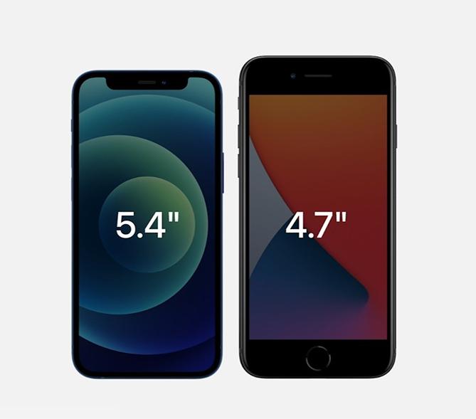 iPhone 12 Mini (trái) nhỏ hơn nhưng có màn hình lớn hơn iPhone 8.