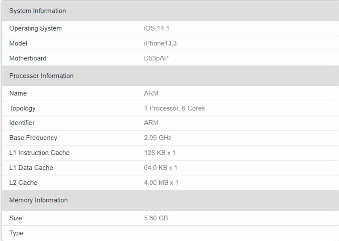 iPhone mới có RAM 6GB. Ảnh: Geekbench