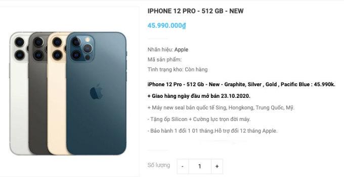 Nhiều cửa hàng cho đặt iPhone 12 và 12 Pro từ thị trường Mỹ và Singapore.