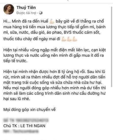 Bài viết kêu gọi ủng hộ trên fanpage mạo danh ca sĩ Thủy Tiên.