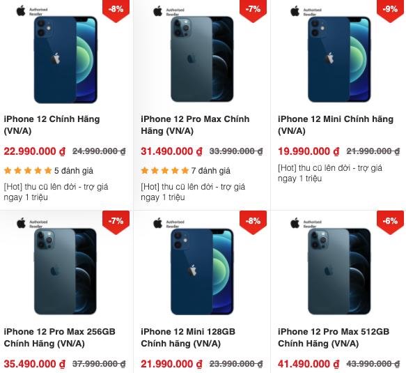 Các mẫu iPhone 12 đều giảm giá tiền triệu tại nhiều hệ thống so với giá công bố tuần trước, ngay sau khi ra mắt.