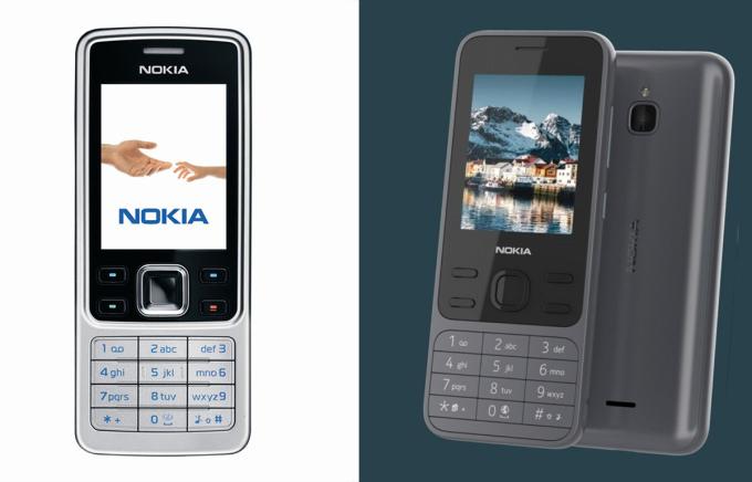 Nokia 6300 (bên trái) và ảnh rò rỉ phiên bản được HMD Global làm mới (bên phải).