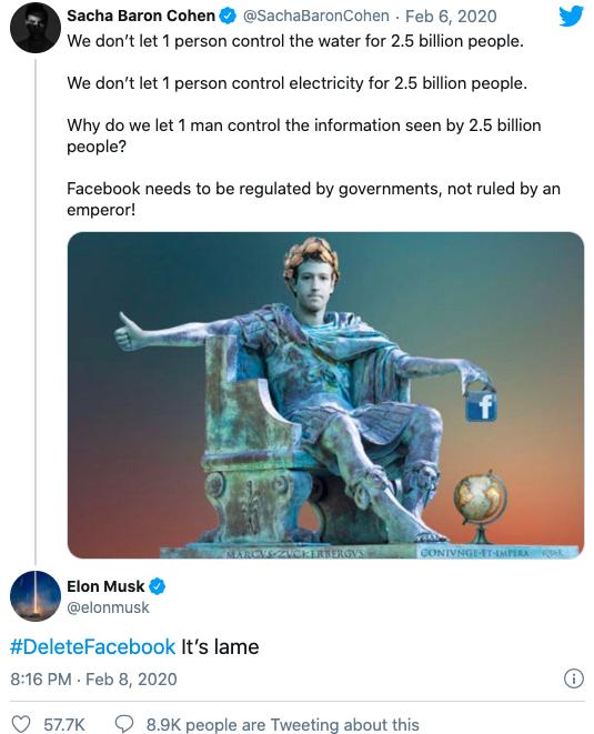 Musk chia sẻ tweet của diễn viên người Anh Sacha Baron Cohen kèm hashtag #DeleteFacebook.