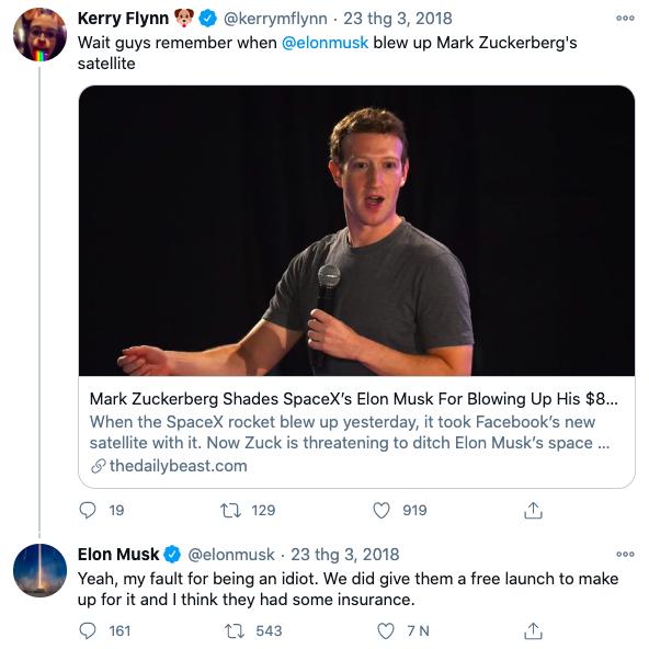 Musk nói mình là kẻ ngốc khi đã nhận lời phóng vệ tinh cho Facebook.