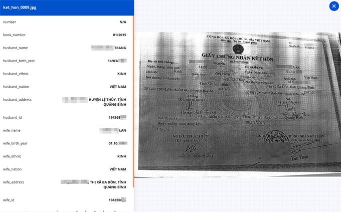Người dùng có thể chụp ảnh giấy chứng nhận kết hôn, đưa vào hệ thống và FPT.AI Reader sẽ trích xuất thông tin trong ảnh như bên trái.