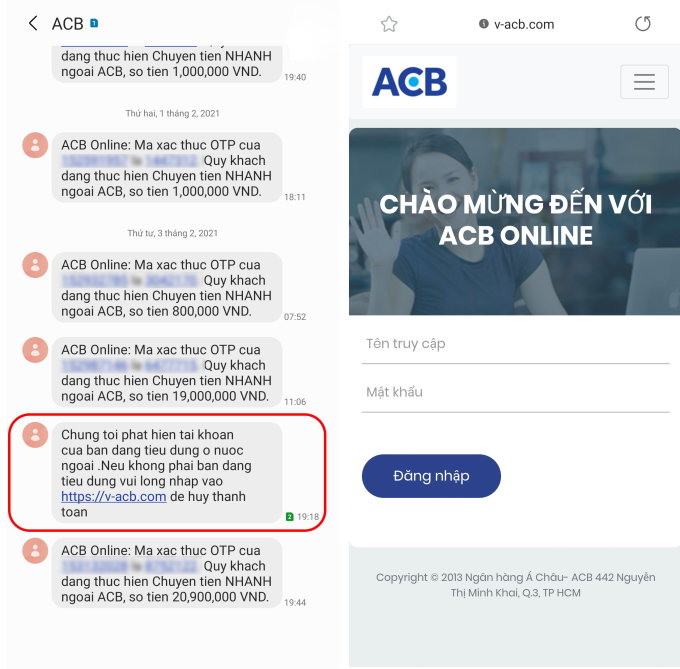 Tin nhắn xuất hiện chung luồng với tin nhắn của ngân hàng, nhưng dẫn tới đường link lừa đảo (bên phải).