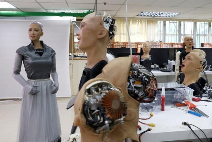 Robot Sophia tại phòng thí nghiệm của Hanson Robotics ở Hong Kong. Ảnh: Hanson Robotics.