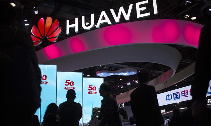 Một gian trưng bày của Huawei tại Trung Quốc năm 2019. Ảnh: AP.