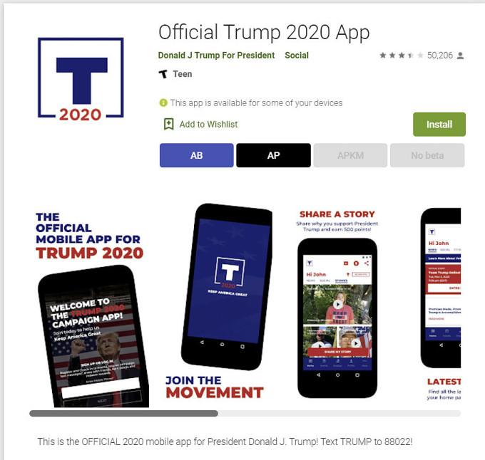 Ứng dụng tranh cử của Trump không còn hoạt động trên nền tảng Android.