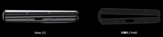 Huawei so sánh thiết kế của Mate X2 và Z Fold2 khi gập lại.