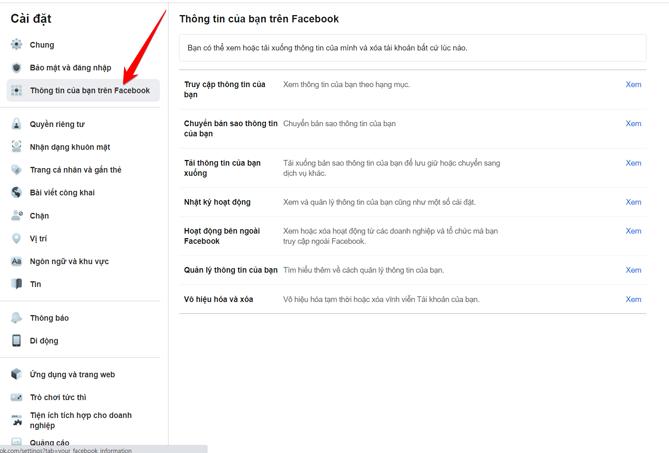 Chọn thông tin của bạn trên Facebook.
