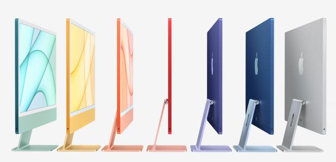 Loạt iMac nhiều màu sắc của Apple.