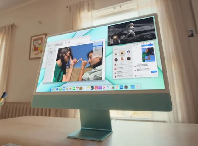 iMac 2021 dùng chip M1 và có nhiều tùy chọn màu sắc. Ảnh: Apple