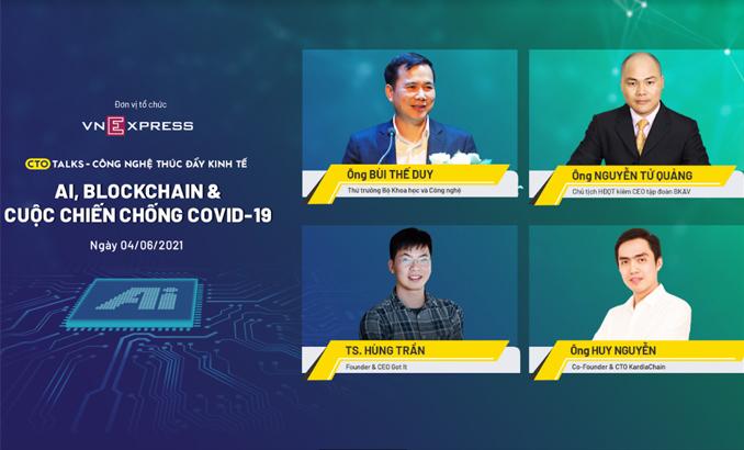 Bốn diễn giả trong CTO Talks phiên thứ sáu, bàn về ứng dụng AI, Blockchain trong cuộc chiến chống Covid-19 ở Việt Nam.
