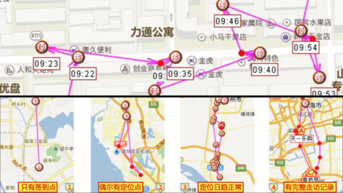 Ứng dụng giám sát của Zhongduantong ghi lại vị trí của nhân viên vào những thời điểm nhất định trong ngày. Ảnh: Nikkei Asia.