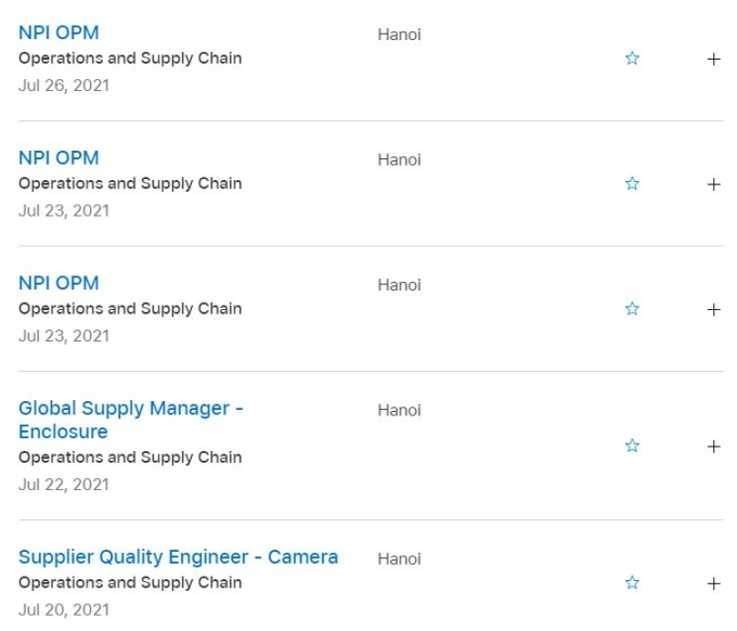 Apple đăng tuyển nhiều vị trí công việc tại Việt Nam.