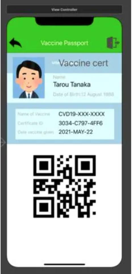 Mẫu hộ chiếu vaccine của Nhật Bản được cấp trên ứng dụng di động.