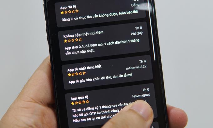 Ứng dụng Sổ sức khỏe điện tử trên iOS nhận nhiều đánh giá 1* từ người dùng thời gian gần đây. Ảnh: Lưu Quý