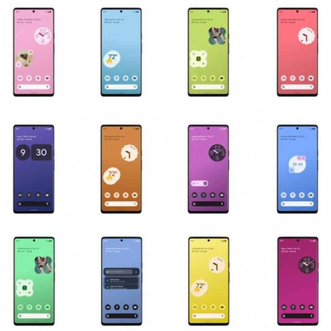 Pixel 6 có nhiều kiểu giao diện, widget trong ảnh mới do Google đăng tải.